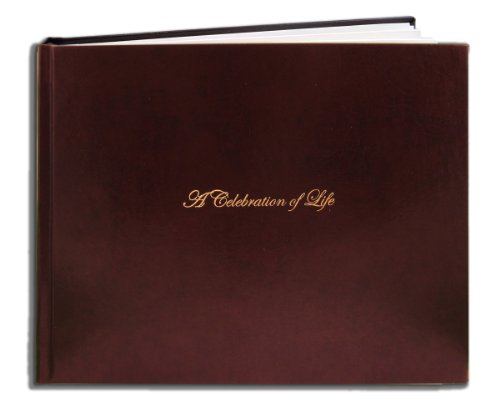 "BookFactory Leather Funeral Guest Book""A Celebration of Life"" / Memorial Book/Memorial Guest Books (48 Pages - 8 7/8"" x 7"") Burgundy Leather, Smyth Sewn Hardbound (LOG-048-97CS-XM (Funeral-REG))"