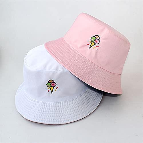 Sombreros de Cubo para Mujer, Sombrero de Pescador de Doble Cara Bordado con Letras, Sombrero de Cubo con protección Solar para Escalada sólida al Aire Libre-a1