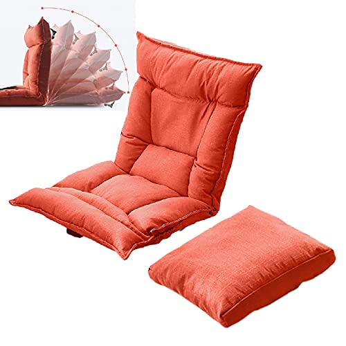 PPGE Home Plegable Lazy Chaise con Almohada, Lounge Reclinable, Silla Relajante Elegante, Lazy Sofa, Lounge Chair, Moderno Muebles para el Hogar Japonés, Silla De Suelo, Silla Japonesa PisoOrange