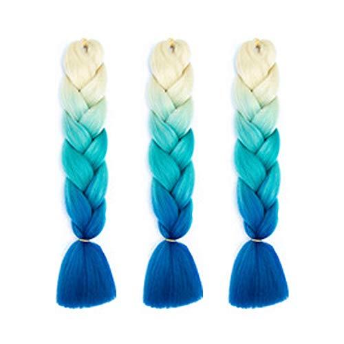 Gobesty 3 Stück Braids Kunsthaar Extensions, 60cm/ 24 Zoll 100g Braiding Haarverlängerung Crochet Flechthaar Synthetische Haare, Beige + Lake Blue + Royal Blue
