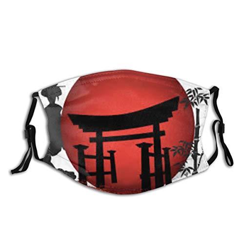 HUAYEXI Gesichtsbedeckung,Japanischer Geisha-Pavillon Japanischer weißer Hintergrund der Bambuskunst,Sturmhaube Unisex Wiederverwendbar Winddicht Staubschutz Mund Bandanas Outdoor Mit 2 Filtern