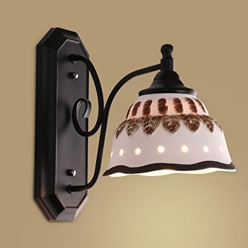 YINGGEXU Lámpara de pared de Aplique de la pared de la vendimia dormitorio lámpara de cabecera americana moderna europea Sala de estar Balcón luz de escalera Pasillo Lámparas de pared, Negro Decorativ