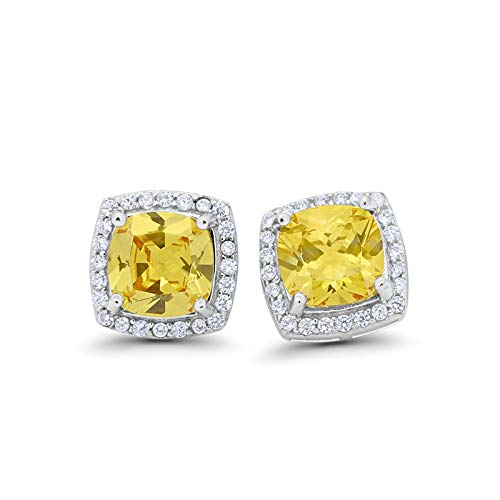 Halo Cushion Bridal Earrings Cushion Round Simulated Yellow Cubic Zirconia 925 Sterling Silver Size