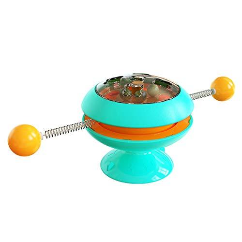 FASW Brinquedo Catpat para gatos, moinho de vento giratório interativo com luz e bola de erva do gato e base de ventosa forte, serve como brinquedo de massagem para gatinhos