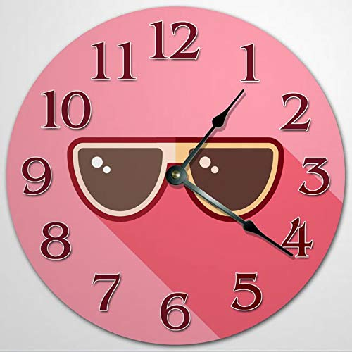 Reloj de pared con diseño de gafas de sol, de madera, de 30,5 cm, funciona con pilas, decoración de pared de granja, decoración del hogar