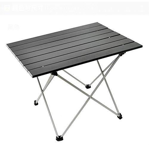 Picknicktisch, ultraleichter klappbarer Camping-Tisch aus Aluminium, tragbarer, Tisch im Freien, Catering-Tisch für Grillpicknick-Party Wandern, 56 * 41 * 41 cm, 1,8 Fuß, Schwarz/Grau