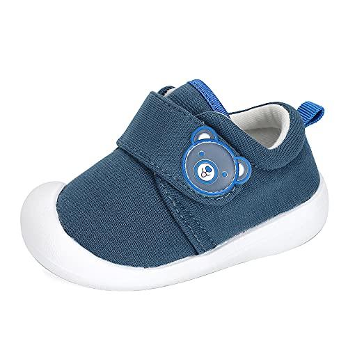 MASOCIO Zapatos Bebe Niño Primeros Pasos Zapatillas Bebé Deportivas Antideslizante Talla 20 Azul Marino