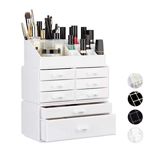 Relaxdays Make Up Organizer mit Schubladen, stapelbares Kosmetikregal f. Schmuck u. Make Up, Schminkaufbewahrung, weiß