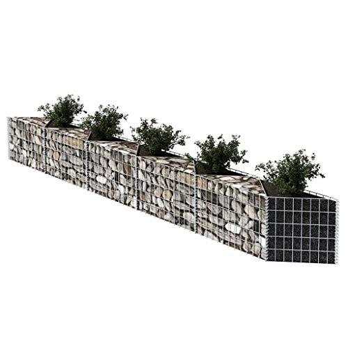AYNEFY - Gaviones de piedra, gaviones de piedra, gaviones de piedra, cesta para plantas, maceta de verduras elevada, acero para jardín al aire libre, 330 x 30 x 50 cm