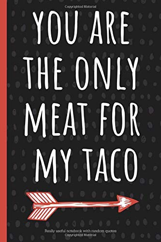 You are the only meat for my taco: a funny lined notebook. Blank novelty journal with silly quotes inside, perfect as a gift (& better than a card) for your amazing partner!