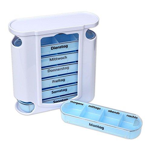 Schramm® Tablettenbox Weiss mit blauen Schiebern 7 Tage Pillen Tabletten Box Schachtel Tablettendose Pillendose Pillenbox Tablettenboxen Pillendosen Pillen Dose Wochendosierer