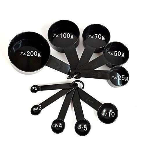 10 cucharas medidoras de plastico de color negro con mango de medicion y cuchara de medicion para cocina y hornear tazas de nido, cocina, te, cafe