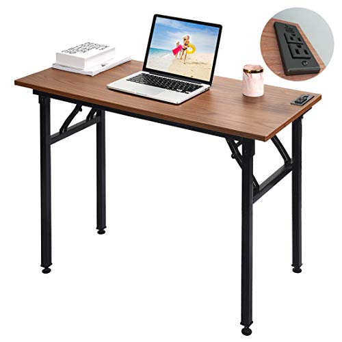 Frylr Small Computer Desk Folding 31.5''X 15.7''X 29'' with 2 Power Sockets...
