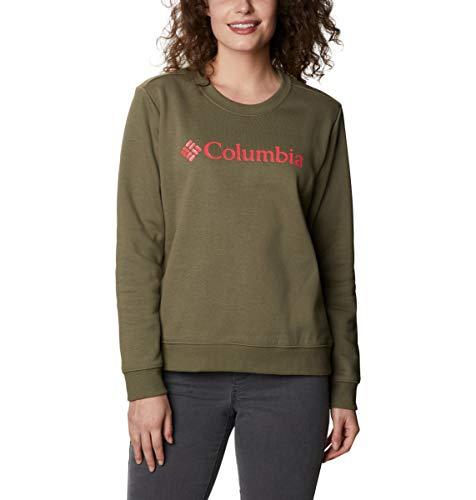 Columbia Suéter con Cuello Redondo con Logo, Mujer, Verde (Stone Green), S