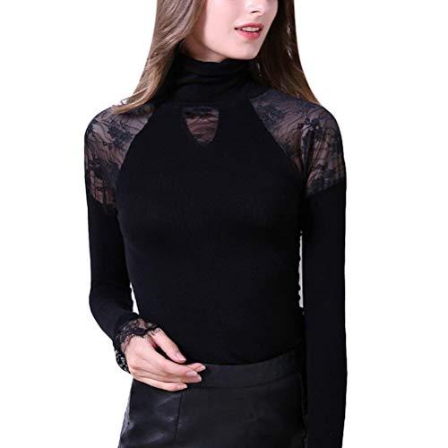 HaiDean vrouwen Warmth T-Shirt Elegant Winter Thermotop Lange Mouw Eenvoudige Glamoureuze Coltrui Effen Kleur Slim Fit Splice Kant Tops Onderhemd