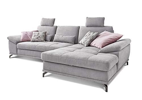 Cavadore Ecksofa Castiel mit Federkern, großes Sofa in L-Form mit Sitztiefenverstellung, Kopfstützen und XL-Longchair, 312 x 114 x 173, Webstoff, hellgrau