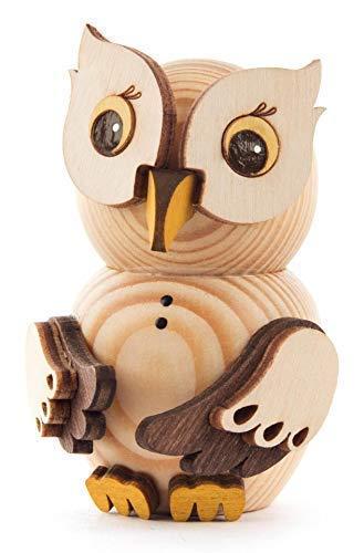 Miniatur Mini-Eule natur H=7,5cm NEU Holzfigur Holzminiatur Sammelfigur
