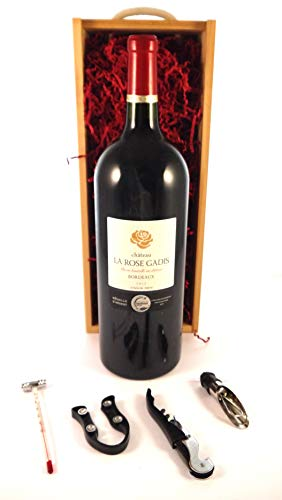 Chateau La Rose Gadis 2015 Bordeaux MAGNUM en una caja de regalo con cuatro accesorios de vino, 1 x 1500ml