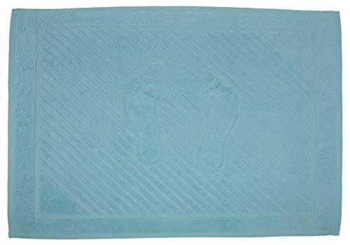 STRATO COTTON - 2 Alfombrillas de baño 50 x 70 cm 100% algodón Natural 750 g/m², Lavable y Absorbente, Toalla de pies Ducha, 2 Paquete, Turquesa Claro