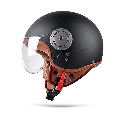 BOSEMAN Metà Aperto Faccia Casco del Motociclo Con Occhialoni ,Casco Modulare Scooter,L'anti-collisione protegge la sicurezza stradale degli utenti(Nero)