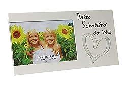 Kamaca Bilderrahmen Fotorahmen aus Holz und Glas für Ihren Lieblingsmensch für Fotos 15x10 cm (Beste Schwester der Welt)
