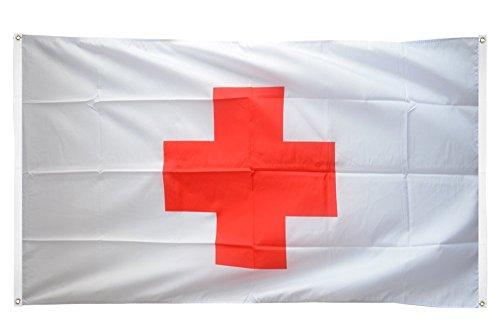 Digni Drapeau de Balcon (avec 4 Oeillets) Croix Rouge - 90 x 150 cm Sticker Gratuit