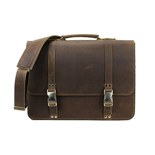 Leather Messenger Bag, Vintage Laptop Briefcase Made in USA by Rugged Material (Pullup Brown)