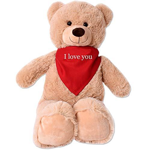 TE-Trend XL Plüsch Teddybär Riesen Teddy Kuscheltier Kuschelteddy Bär 80cm braun Plüschbär sitzend I Love You