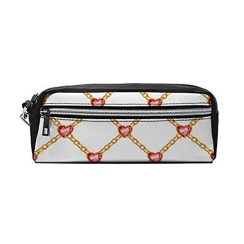 Diamon Goden Ring Geometrische Patroon PU Lederen Potlood Case Make-up Bag Cosmetische Tas Potlood Pouch met Rits Reizen Toilettas voor Vrouwen Meisjes