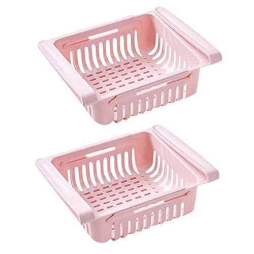DXQDXQ 2 Piezas Cajón Frigorífico Retráctil Estante de Almacenamiento de Refrigerador Mantiene Ordenado el Refrigerador para Clasificación de Alimentos Bebidas Frutas (Color : Pink)