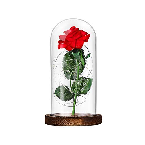 Lámpara de Mesa LED Rosa de Seda Roja y Luz con Pétalos Caídos en Cúpula de Cristal Sobre Base de Madera Valentín