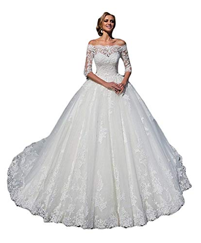 Melisa Long Sleeves Lace Tulle 3/4 Sleeves Bride Ball Gowns with Off The Shoulder Wedding Dresses for Bride Ivory