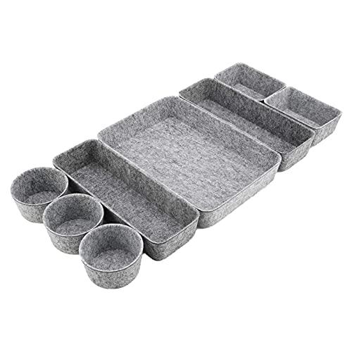 Schubladen-Organizer-Tabletts, Schreibtisch-Filz-Schubladen-Organizer-Behälter 8er-Set Faltbare Schubladen-Trennwände Trenner Aufbewahrungsbehälter für Make-up, Utensilien...