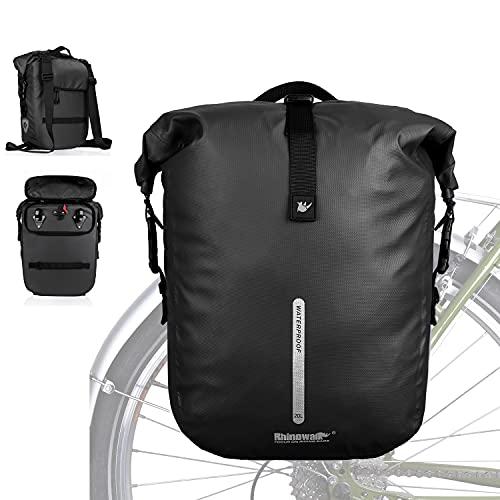 WILDKEN 20L Bolsa Trasera para Bicicleta 3 in1 Multifuncional Impermeable Bolsa de Asiento Trasero para Ciclismo MTB Bicicleta de Montaña (Negro)