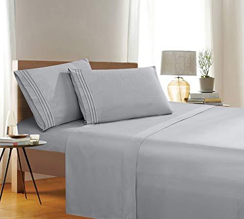 4-teiliges Bettwäsche-Set, Fadenzahl 1500, Knitter- und lichtbeständig, ägyptische Qualität, Ultra-weich, luxuriös, Set mit Bettlaken, Spannbetttuch und 2 Kissenbezügen, volle Größe, klassisch Silber