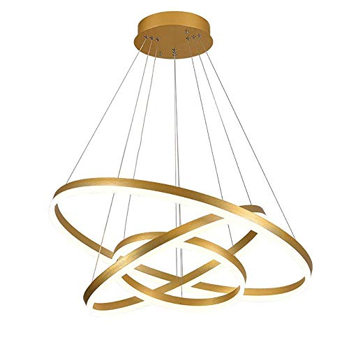 Lámparas LED, anillos de oro redondo diseño de la lámpara colgante de acrílico, luces de techo circulares regulables en altura for Pasillo Comedor Dormitorio regulable con control remoto