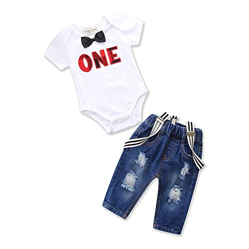 Toddler Baby Boy Clothes Set Bowtie Romper Suspenders Ripped Denim Pants Outfits White