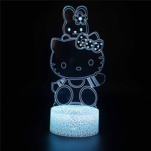 Nachtlicht 3D Illusion Lampe LED Nachtlicht Hellokitty D 3D LED Optische Illusion Lampen Nachtlicht Optische Illusion LED Tischlampe Touch-Taste für Weihnachten Geburtstag Geschenk – Fernbedienung