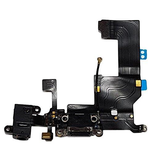 Smartex Conector de Carga de Repuesto Compatible con iPhone 5 5G Negro – Dock de repeusto con Cable Flex, Altavoz, Antena, Micrófono y Conexión Botón de Inicio.