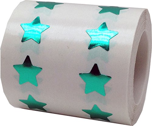 Metallic Green Star Shape Stickers 0.50 Inch 1,000 Adhesive Labels