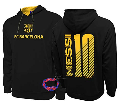 Barcelona Hoodies Pullover Youth for Kids Messi Jacket 2020 2020-21 New Season Official Licensed and Bracelet (YM, Barcelona Hoodie Black Youth)