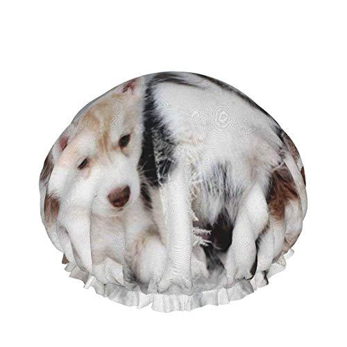 Gorro de ducha para mujer de pelo largo Husky Puppy impermeable reutilizable