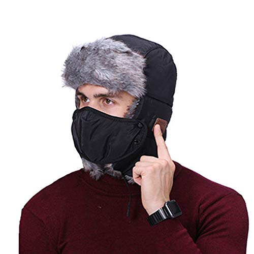 Bluetooth Beanie Hat -Trapper Hat Winter Windproof Ski Hat with Ear Flaps Warm Hunting Hats for Men Women