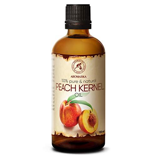 Huile de Peche 100ml - Prunus Persica Kernel Oil - Italie - 100% Pur et Naturel - Soins Intensifs pour le Visage - Cheveux - Massage - Soins du Corps - Huile Pêche dans une Bouteille en Verre