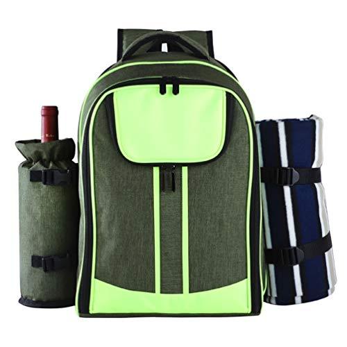 MiduoHu 4 Person Picknick RucksackKühltasche mit Picknickset mit Isoliertem Kühlfach und Decke für Camping Outdoor