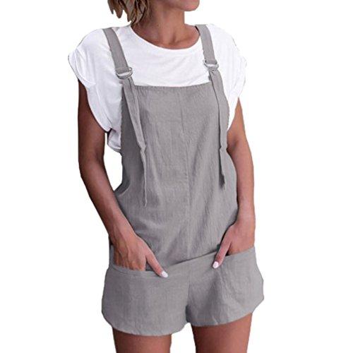 BBring Damen Baggy Latzhose Sommer Leinen Kurz Overall Jumpsuit Lässig Playsuit mit Taschen (M, Grau)