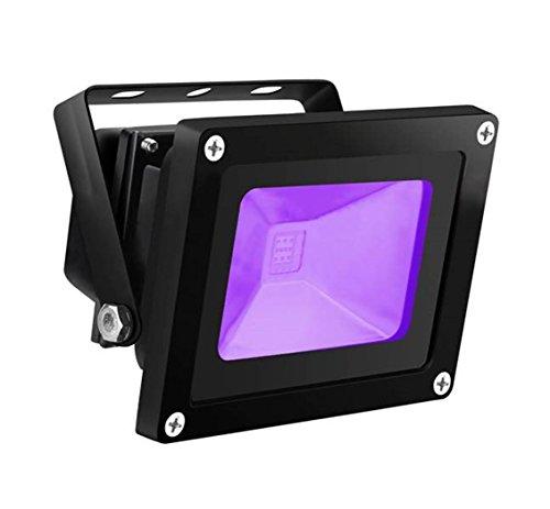 UV LED Black Light, HouLight High Power 10W LED Blacklight Flood Light IP65-Waterproof (85V-265V AC) for Blacklight Party Supplies, Neon Glow, Glow in The Dark, Birthdays, Blacklights, Curing