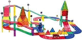 Magnetic Race Car Track Tiles Building for Kids 82 Pieces Children Educational Toy Kit Magnetic Blocks DIY Magnets 2 Light...