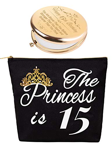 15th Birthday Gifts for Teen Girls, 15 Year Old Girl Gifts for Birthday, Birthday Gifts for 15 Year Old Girls, Present for 15 Year Old Girl, 15th Birthday Mirror, 15th Birthday Makeup Bag Cosmetic Bag