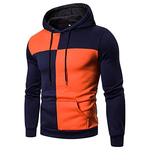 Herren Sweatshirt Casual Langarm Hoodie Freizeit Patchwork Farbblock Sweatshirt...